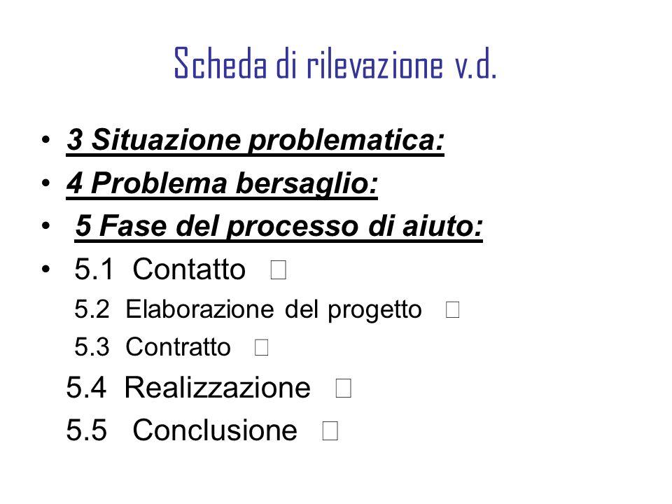 Scheda di rilevazione v.d. 3 Situazione problematica: 4 Problema bersaglio: 5 Fase del processo di aiuto: 5.1 Contatto 5.2 Elaborazione del progetto 5