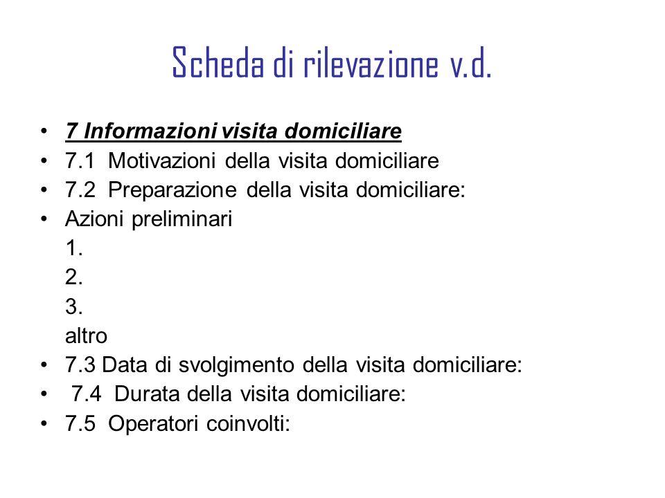 Scheda di rilevazione v.d. 7 Informazioni visita domiciliare 7.1 Motivazioni della visita domiciliare 7.2 Preparazione della visita domiciliare: Azion