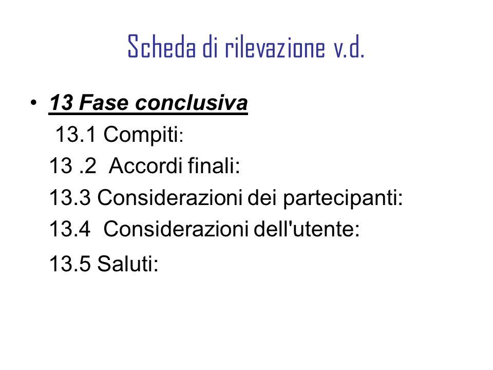 Scheda di rilevazione v.d. 13 Fase conclusiva 13.1 Compiti : 13.2 Accordi finali: 13.3 Considerazioni dei partecipanti: 13.4 Considerazioni dell'utent