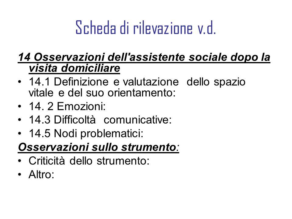 Scheda di rilevazione v.d. 14 Osservazioni dell'assistente sociale dopo la visita domiciliare 14.1 Definizione e valutazione dello spazio vitale e del