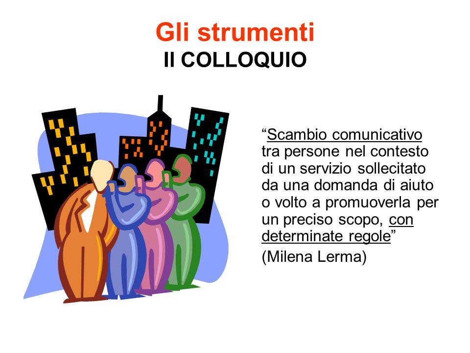 Gli strumenti Il COLLOQUIO Scambio comunicativo tra persone nel contesto di un servizio sollecitato da una domanda di aiuto o volto a promuoverla per