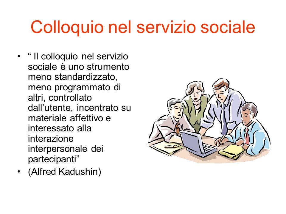 Colloquio nel servizio sociale Il colloquio nel servizio sociale è uno strumento meno standardizzato, meno programmato di altri, controllato dallutent