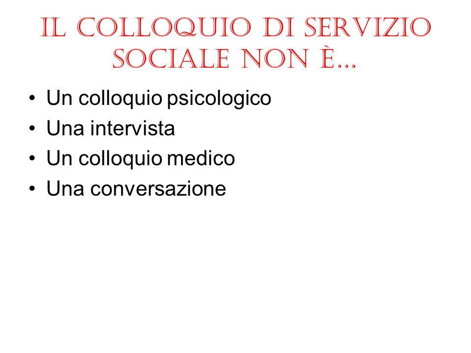 Il colloquio di servizio sociale non è… Un colloquio psicologico Una intervista Un colloquio medico Una conversazione