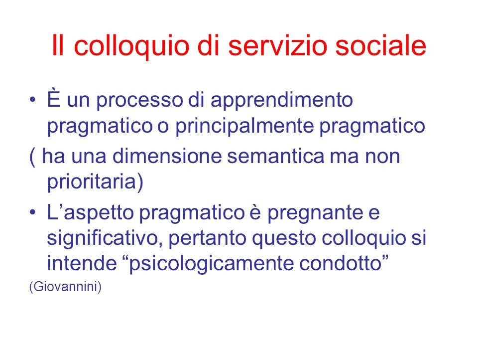 Il colloquio di servizio sociale È un processo di apprendimento pragmatico o principalmente pragmatico ( ha una dimensione semantica ma non prioritari