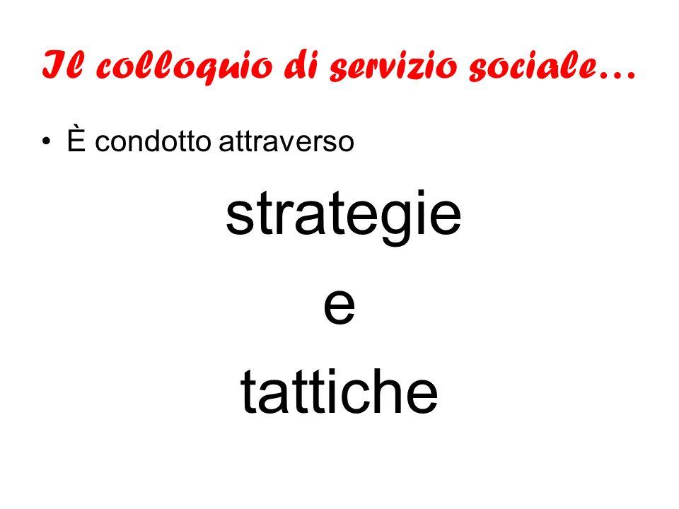 Il colloquio di servizio sociale… È condotto attraverso strategie e tattiche