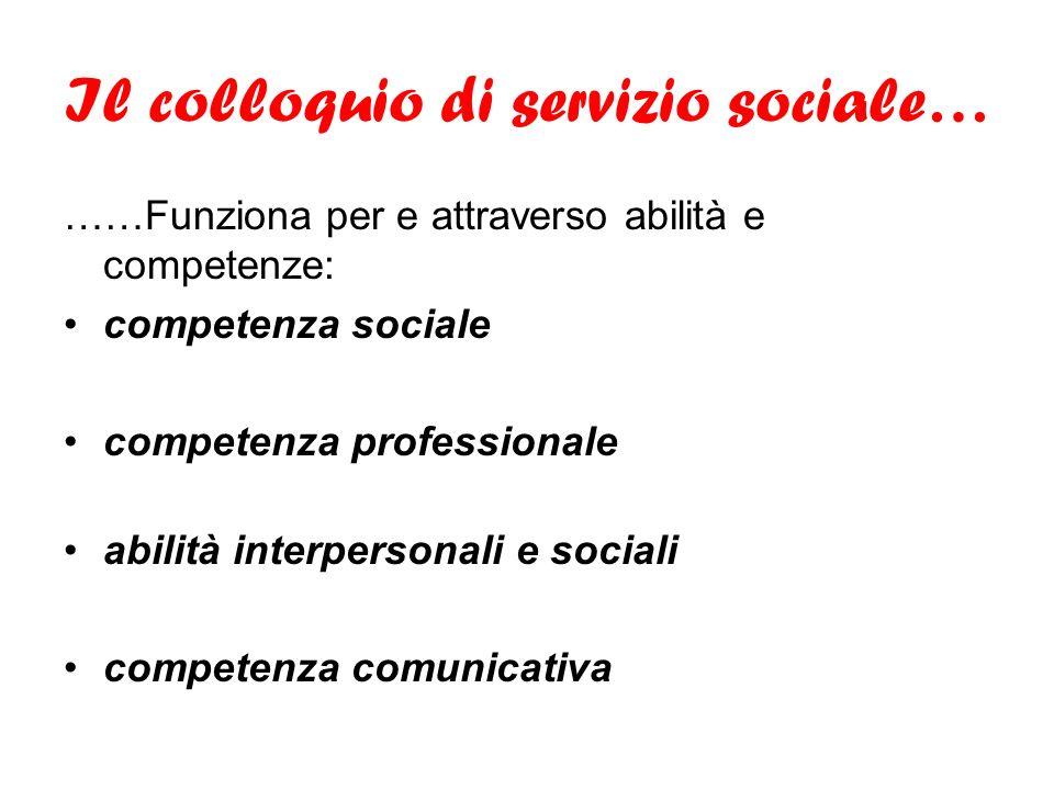 Il colloquio di servizio sociale… ……Funziona per e attraverso abilità e competenze: competenza sociale competenza professionale abilità interpersonali