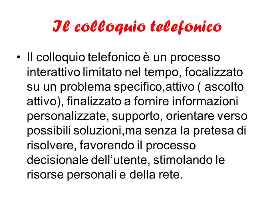 Il colloquio telefonico Il colloquio telefonico è un processo interattivo limitato nel tempo, focalizzato su un problema specifico,attivo ( ascolto at
