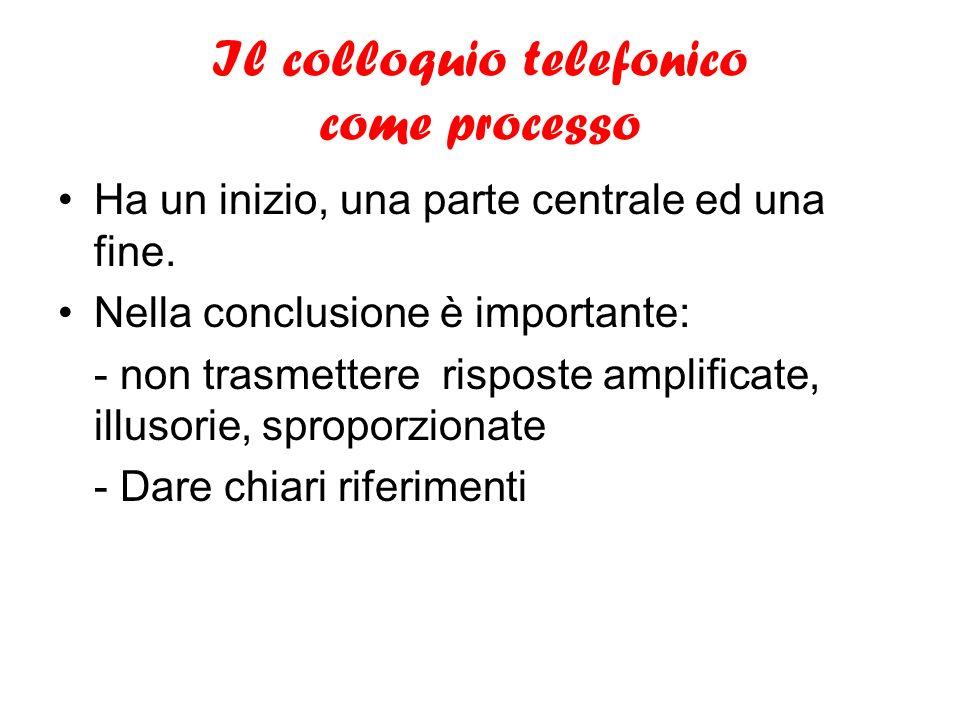 Il colloquio telefonico come processo Ha un inizio, una parte centrale ed una fine. Nella conclusione è importante: - non trasmettere risposte amplifi