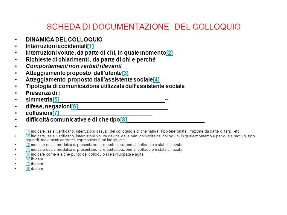 SCHEDA DI DOCUMENTAZIONE DEL COLLOQUIO DINAMICA DEL COLLOQUIO Interruzioni accidentali[1][1] Interruzioni volute, da parte di chi, in quale momento[2]