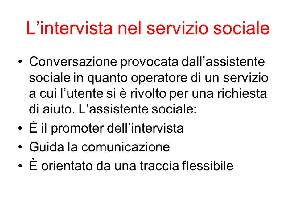 Lintervista nel servizio sociale Conversazione provocata dallassistente sociale in quanto operatore di un servizio a cui lutente si è rivolto per una
