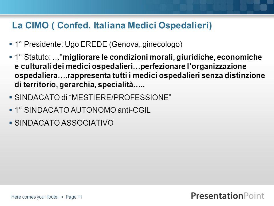 La CIMO ( Confed. Italiana Medici Ospedalieri) 1° Presidente: Ugo EREDE (Genova, ginecologo) 1° Statuto: …migliorare le condizioni morali, giuridiche,