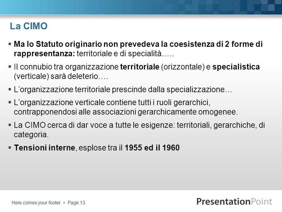 La CIMO Ma lo Statuto originario non prevedeva la coesistenza di 2 forme di rappresentanza: territoriale e di specialità….. Il connubio tra organizzaz