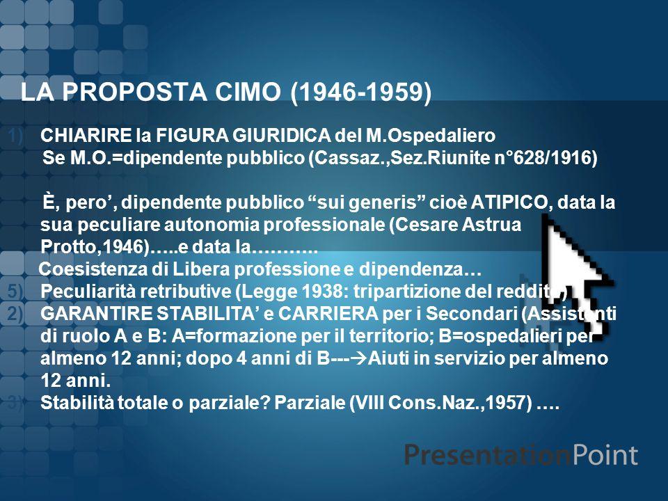 LA PROPOSTA CIMO (1946-1959) 1)CHIARIRE la FIGURA GIURIDICA del M.Ospedaliero Se M.O.=dipendente pubblico (Cassaz.,Sez.Riunite n°628/1916) È, pero, di