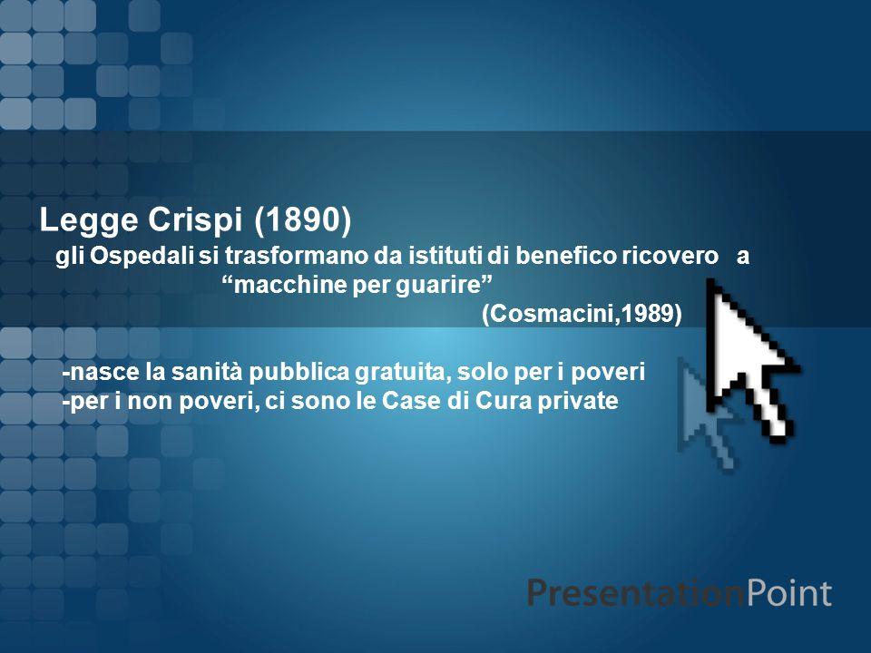 Legge Crispi (1890) gli Ospedali si trasformano da istituti di benefico ricovero a macchine per guarire (Cosmacini,1989) -nasce la sanità pubblica gra