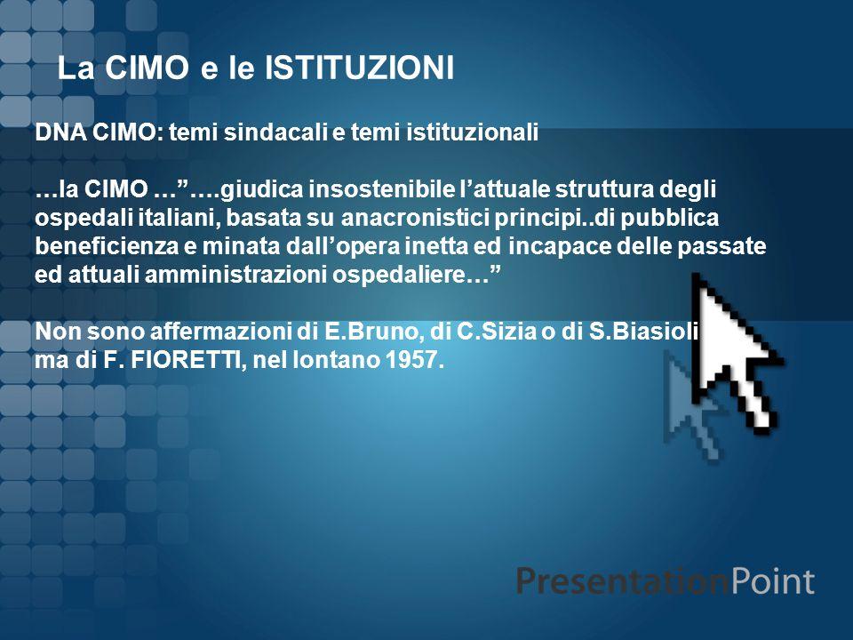 La CIMO e le ISTITUZIONI DNA CIMO: temi sindacali e temi istituzionali …la CIMO …….giudica insostenibile lattuale struttura degli ospedali italiani, b