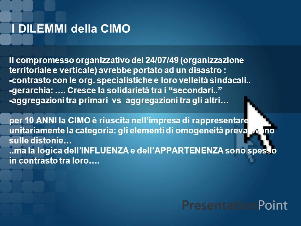 I DILEMMI della CIMO Il compromesso organizzativo del 24/07/49 (organizzazione territoriale e verticale) avrebbe portato ad un disastro : -contrasto c