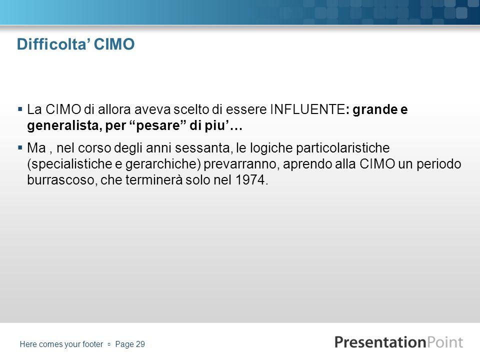 Difficolta CIMO La CIMO di allora aveva scelto di essere INFLUENTE: grande e generalista, per pesare di piu… Ma, nel corso degli anni sessanta, le log