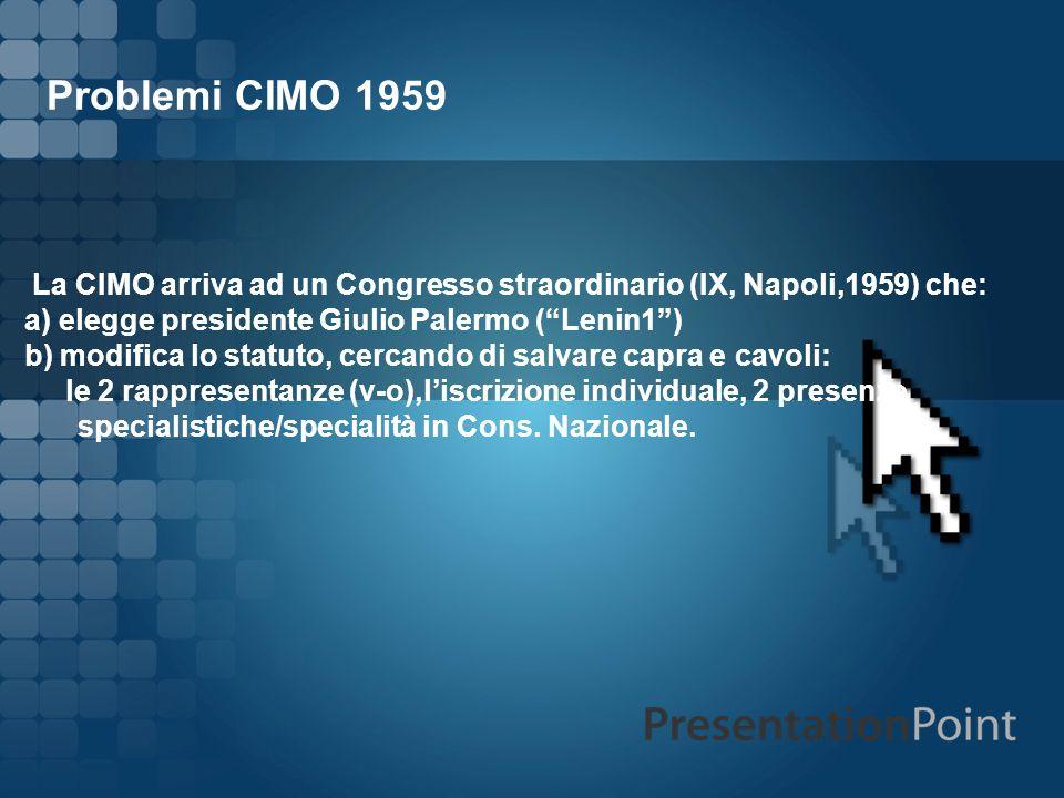 Problemi CIMO 1959 La CIMO arriva ad un Congresso straordinario (IX, Napoli,1959) che: a) elegge presidente Giulio Palermo (Lenin1) b) modifica lo sta