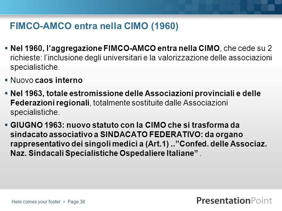 FIMCO-AMCO entra nella CIMO (1960) Nel 1960, laggregazione FIMCO-AMCO entra nella CIMO, che cede su 2 richieste: linclusione degli universitari e la v