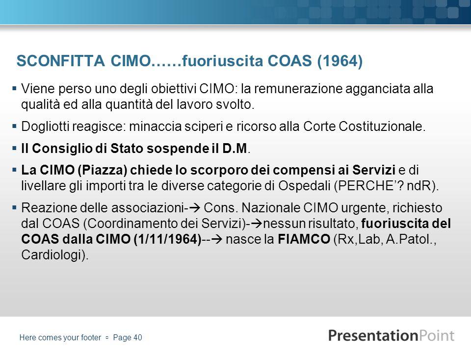 SCONFITTA CIMO……fuoriuscita COAS (1964) Viene perso uno degli obiettivi CIMO: la remunerazione agganciata alla qualità ed alla quantità del lavoro svo