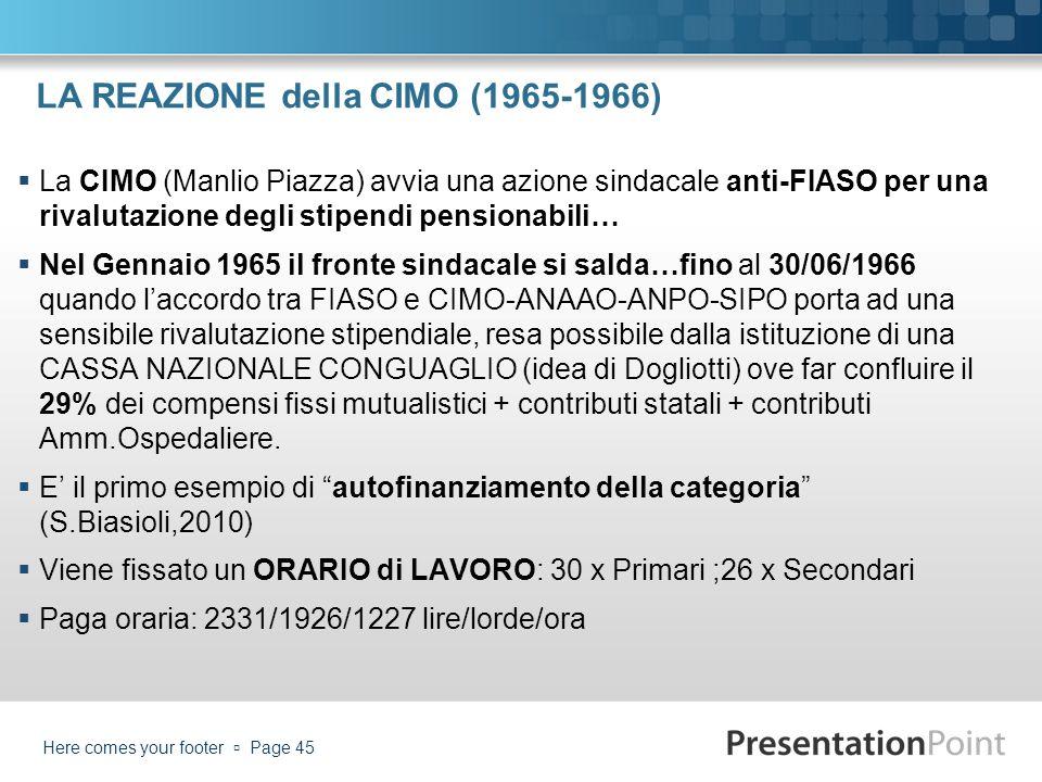LA REAZIONE della CIMO (1965-1966) La CIMO (Manlio Piazza) avvia una azione sindacale anti-FIASO per una rivalutazione degli stipendi pensionabili… Ne