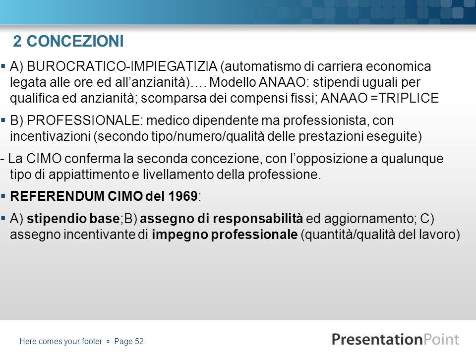 2 CONCEZIONI A) BUROCRATICO-IMPIEGATIZIA (automatismo di carriera economica legata alle ore ed allanzianità)…. Modello ANAAO: stipendi uguali per qual