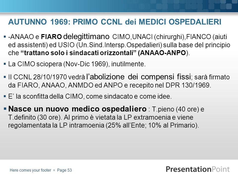 AUTUNNO 1969: PRIMO CCNL dei MEDICI OSPEDALIERI -ANAAO e FIARO delegittimano CIMO,UNACI (chirurghi),FIANCO (aiuti ed assistenti) ed USIO (Un.Sind.Inte