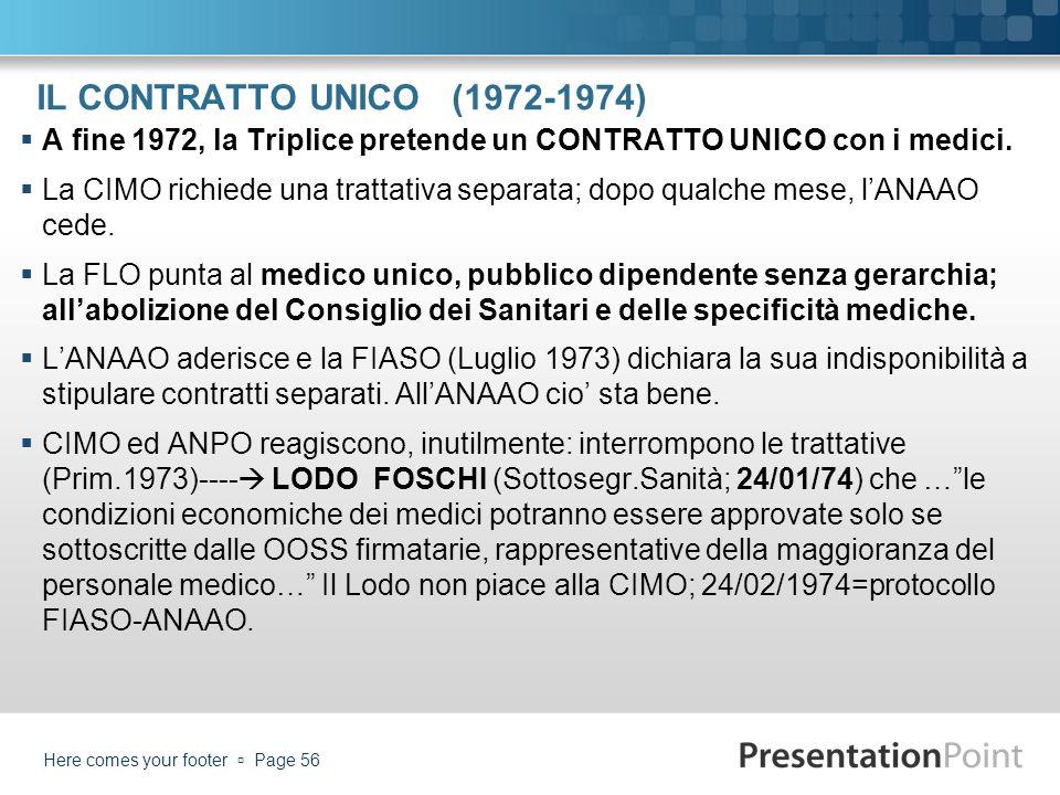IL CONTRATTO UNICO (1972-1974) A fine 1972, la Triplice pretende un CONTRATTO UNICO con i medici. La CIMO richiede una trattativa separata; dopo qualc