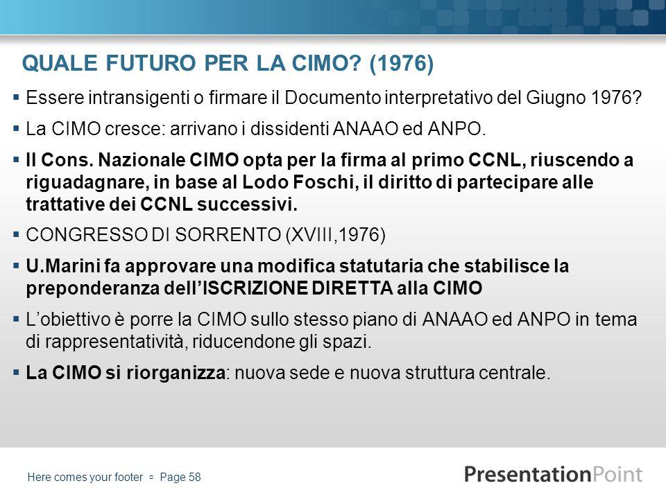 QUALE FUTURO PER LA CIMO? (1976) Essere intransigenti o firmare il Documento interpretativo del Giugno 1976? La CIMO cresce: arrivano i dissidenti ANA