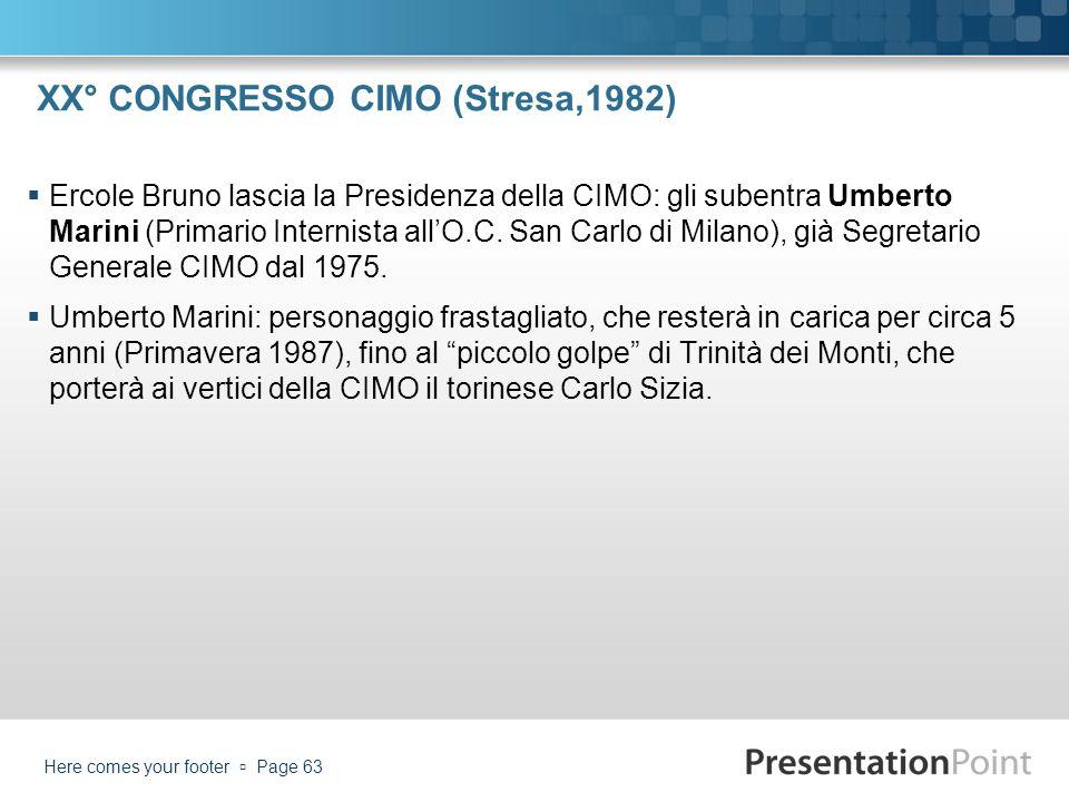 XX° CONGRESSO CIMO (Stresa,1982) Ercole Bruno lascia la Presidenza della CIMO: gli subentra Umberto Marini (Primario Internista allO.C. San Carlo di M