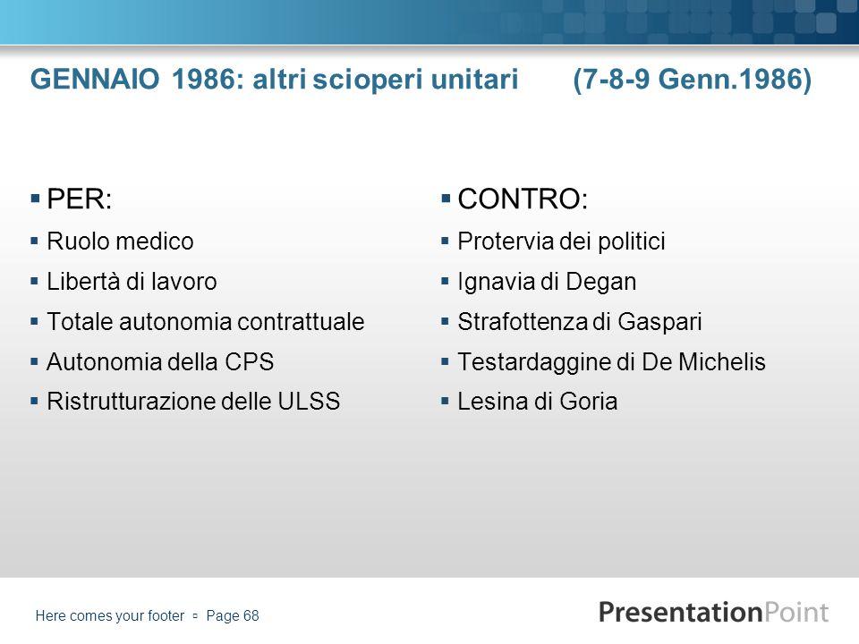 GENNAIO 1986: altri scioperi unitari (7-8-9 Genn.1986) PER: Ruolo medico Libertà di lavoro Totale autonomia contrattuale Autonomia della CPS Ristruttu
