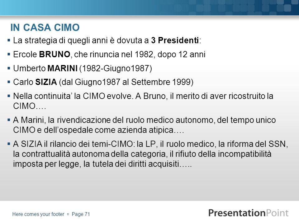 IN CASA CIMO La strategia di quegli anni è dovuta a 3 Presidenti: Ercole BRUNO, che rinuncia nel 1982, dopo 12 anni Umberto MARINI (1982-Giugno1987) C