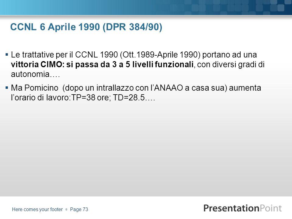 CCNL 6 Aprile 1990 (DPR 384/90) Le trattative per il CCNL 1990 (Ott.1989-Aprile 1990) portano ad una vittoria CIMO: si passa da 3 a 5 livelli funziona