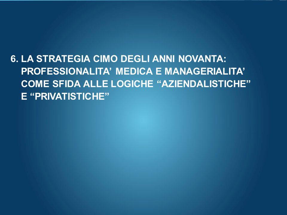 Here comes your footer Page 75 6. LA STRATEGIA CIMO DEGLI ANNI NOVANTA: PROFESSIONALITA MEDICA E MANAGERIALITA COME SFIDA ALLE LOGICHE AZIENDALISTICHE