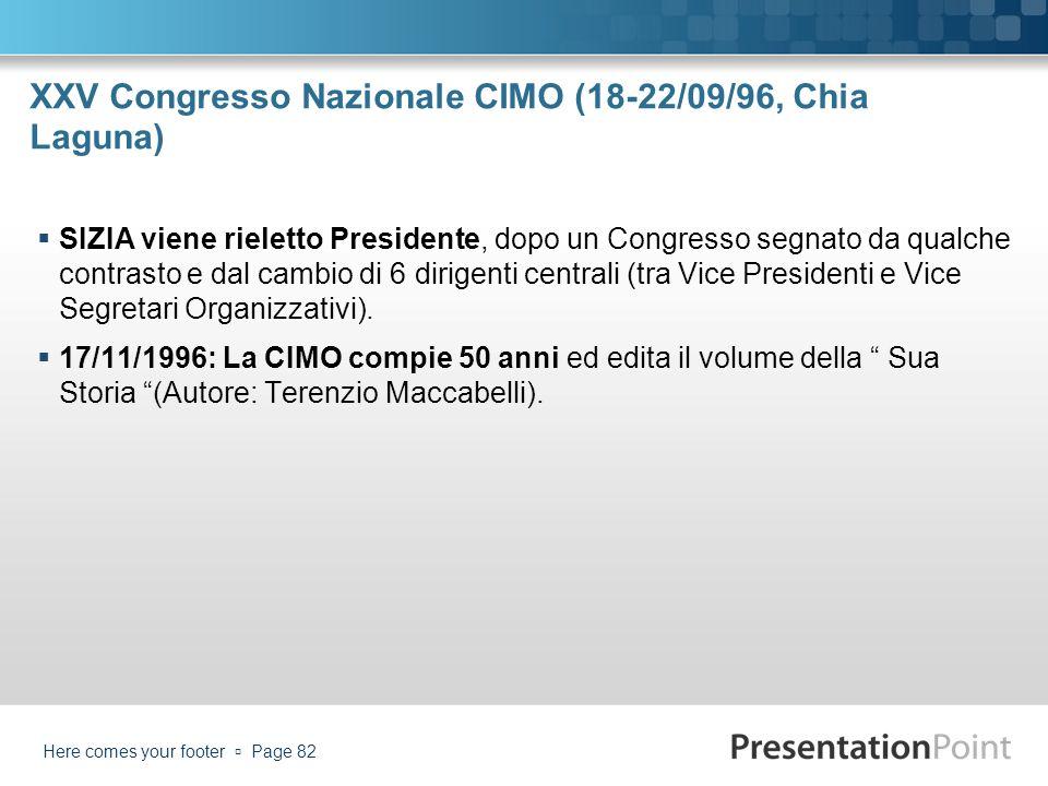 XXV Congresso Nazionale CIMO (18-22/09/96, Chia Laguna) SIZIA viene rieletto Presidente, dopo un Congresso segnato da qualche contrasto e dal cambio d