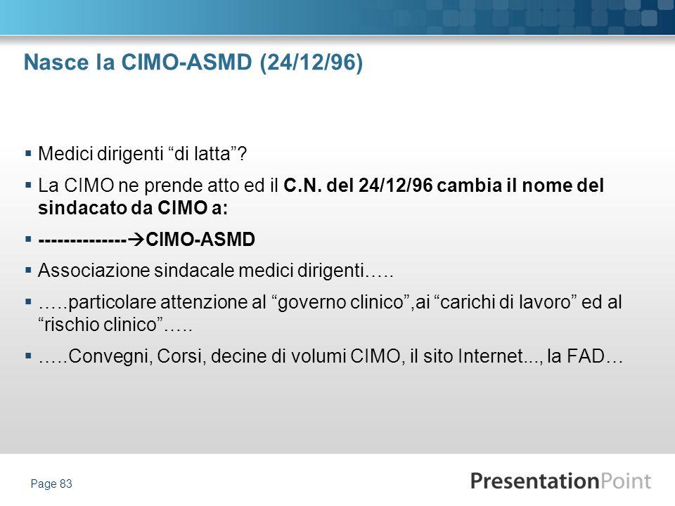 Nasce la CIMO-ASMD (24/12/96) Medici dirigenti di latta? La CIMO ne prende atto ed il C.N. del 24/12/96 cambia il nome del sindacato da CIMO a: ------