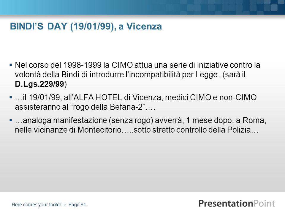 BINDIS DAY (19/01/99), a Vicenza Nel corso del 1998-1999 la CIMO attua una serie di iniziative contro la volontà della Bindi di introdurre lincompatib