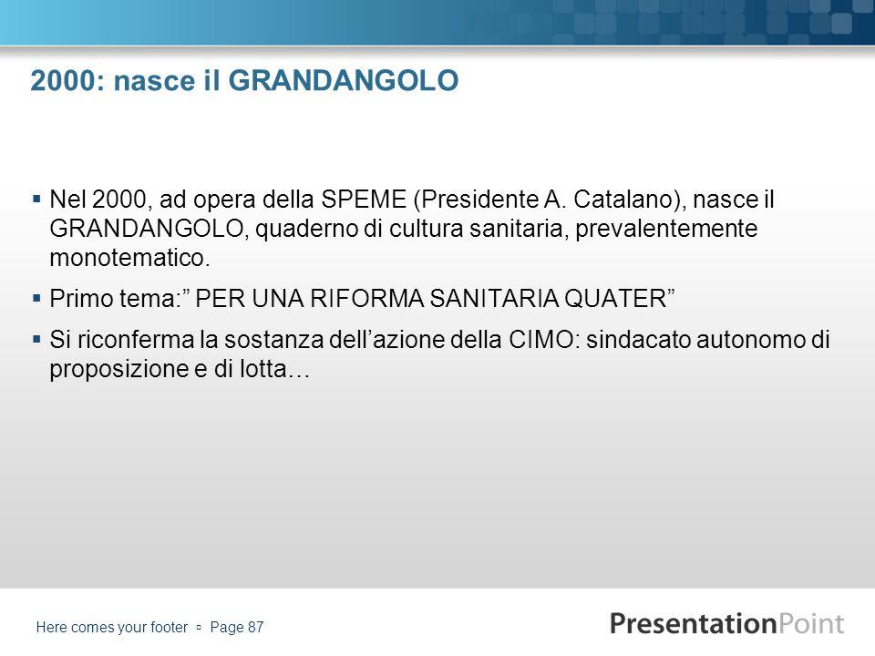 2000: nasce il GRANDANGOLO Nel 2000, ad opera della SPEME (Presidente A. Catalano), nasce il GRANDANGOLO, quaderno di cultura sanitaria, prevalentemen