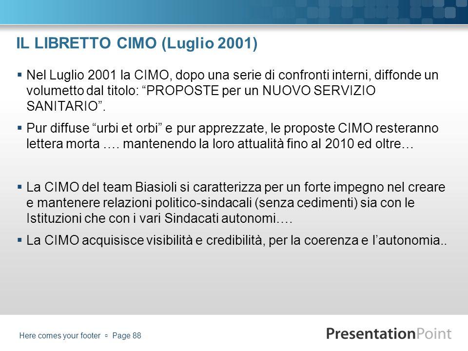 IL LIBRETTO CIMO (Luglio 2001) Nel Luglio 2001 la CIMO, dopo una serie di confronti interni, diffonde un volumetto dal titolo: PROPOSTE per un NUOVO S