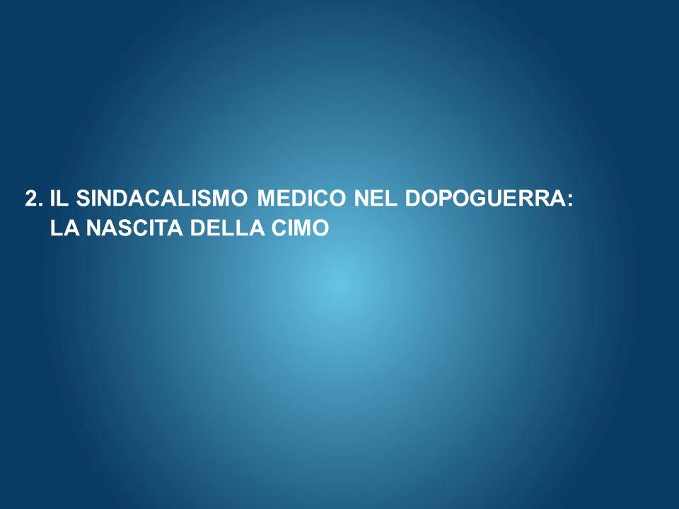 Here comes your footer Page 9 2. IL SINDACALISMO MEDICO NEL DOPOGUERRA: LA NASCITA DELLA CIMO