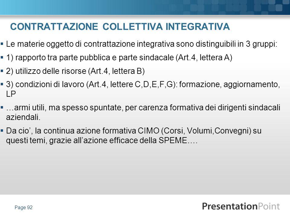 CONTRATTAZIONE COLLETTIVA INTEGRATIVA Le materie oggetto di contrattazione integrativa sono distinguibili in 3 gruppi: 1) rapporto tra parte pubblica