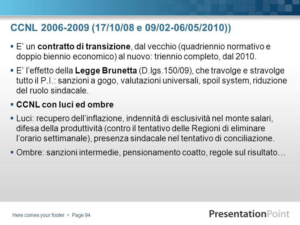 CCNL 2006-2009 (17/10/08 e 09/02-06/05/2010)) E un contratto di transizione, dal vecchio (quadriennio normativo e doppio biennio economico) al nuovo: