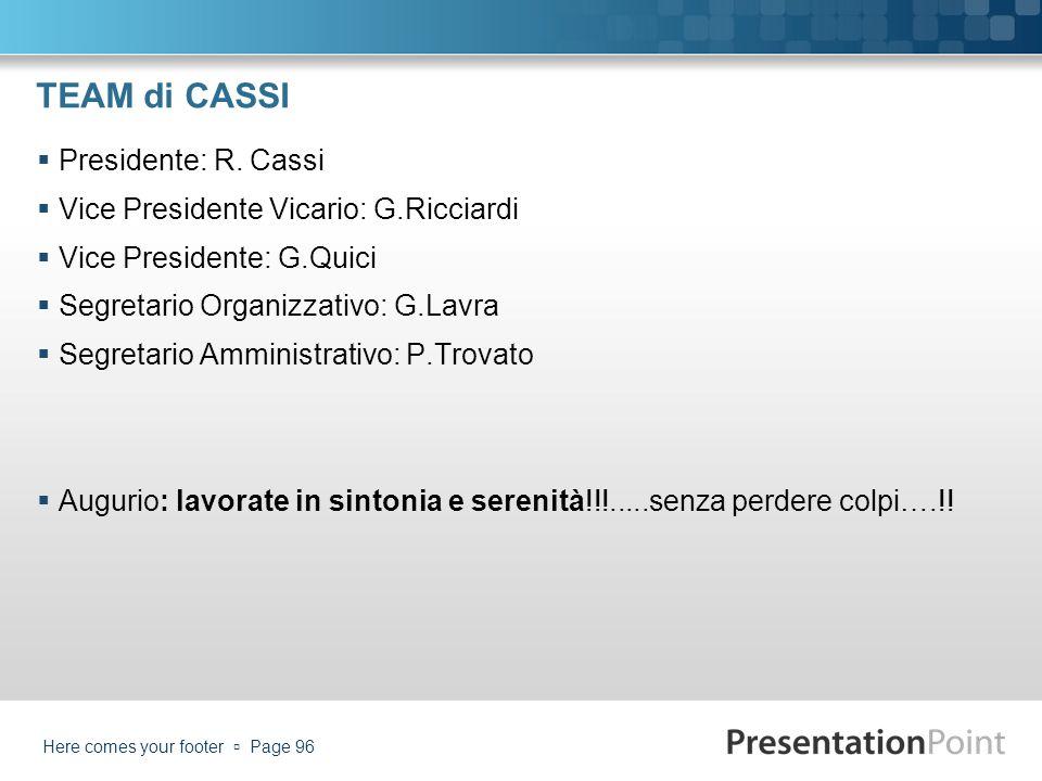 TEAM di CASSI Presidente: R. Cassi Vice Presidente Vicario: G.Ricciardi Vice Presidente: G.Quici Segretario Organizzativo: G.Lavra Segretario Amminist