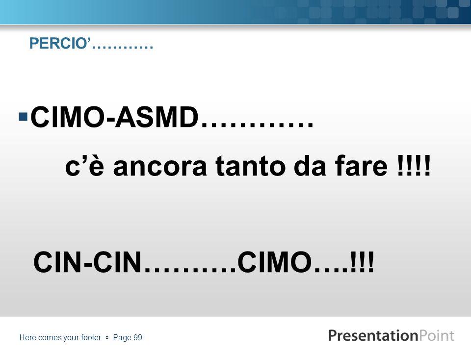 PERCIO………… CIMO-ASMD………… cè ancora tanto da fare !!!! CIN-CIN……….CIMO….!!! Here comes your footer Page 99