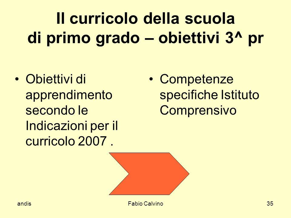 andisFabio Calvino35 Il curricolo della scuola di primo grado – obiettivi 3^ pr Obiettivi di apprendimento secondo le Indicazioni per il curricolo 200