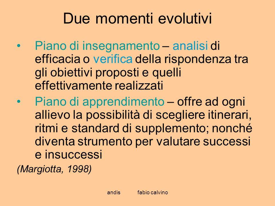 andis fabio calvino Due momenti evolutivi Piano di insegnamento – analisi di efficacia o verifica della rispondenza tra gli obiettivi proposti e quell