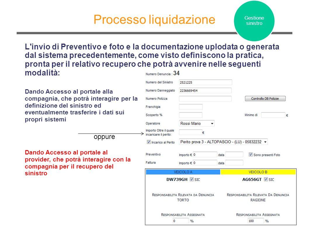 Processo liquidazione L'invio di Preventivo e foto e la documentazione uplodata o generata dal sistema precedentemente, come visto definiscono la prat