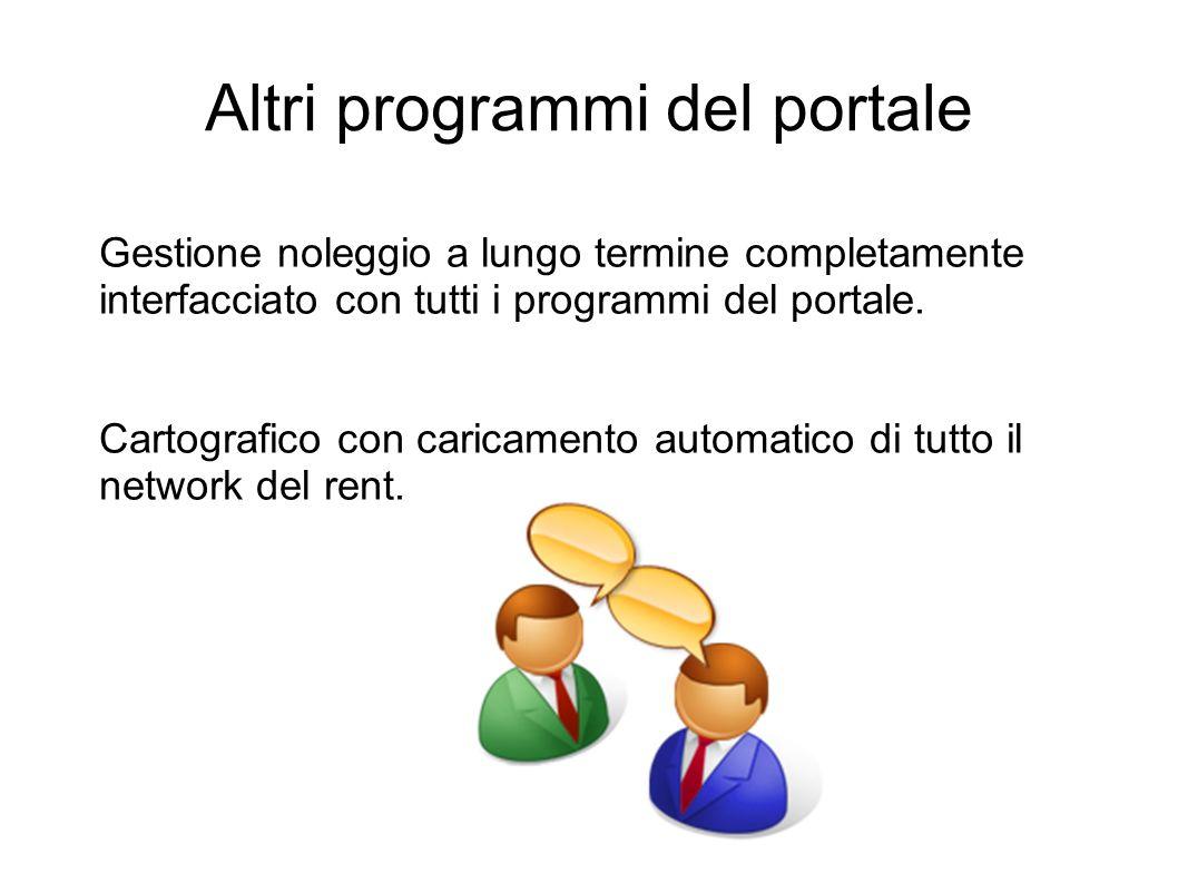 Altri programmi del portale Gestione noleggio a lungo termine completamente interfacciato con tutti i programmi del portale. Cartografico con caricame