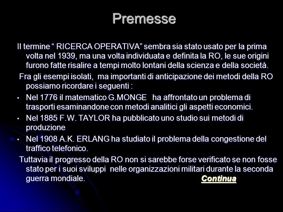 Premesse Il termine RICERCA OPERATIVA sembra sia stato usato per la prima volta nel 1939, ma una volta individuata e definita la RO, le sue origini furono fatte risalire a tempi molto lontani della scienza e della società.