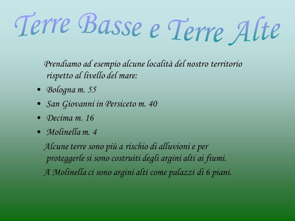 Prendiamo ad esempio alcune località del nostro territorio rispetto al livello del mare: Bologna m.